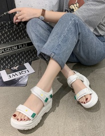 Fashion White Thick-bottomed Muffins With The Word Velcro Small Chrysanthemum Wedge Sandals