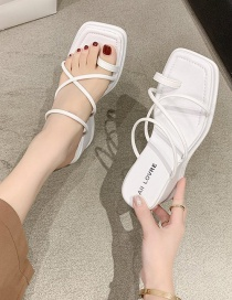 Fashion White Cross-toe Wedge Sandals