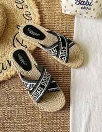 Fashion Black And White Flat Cross Slippers