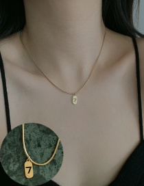Fashion Golden Stainless Steel Digital Pendant Square Necklace