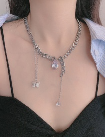 Fashion Silver Thick Chain Tassel Butterfly-set Crystal Alloy Necklace