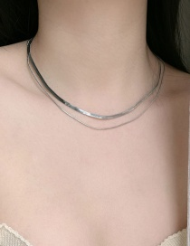 Fashion Silver Double Layer Snake Bone Chain Wide Flat Multi-layer Necklace