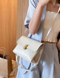 Fashion White One-shoulder Diagonal Shoulder Bag With Braided Rope Latch