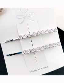 Fashion Small Triangle Silver One Triangle Zircon Crystal Hairpin