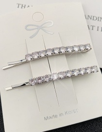 Fashion Silver One Zircon Crystal Square Hairpin
