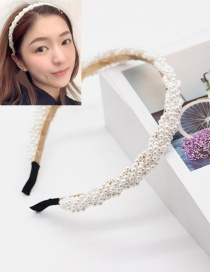 Fashion White Braided Pearl Ripple Combined With Blonde Hoop