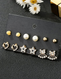 Fashion Color Mixing Diamond Pearl Flower Crown Geometric Earring Set