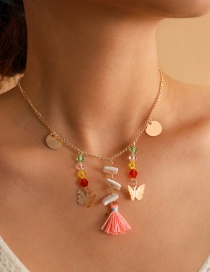 Fashion Golden Crystal Tassel Butterfly Alloy Necklace