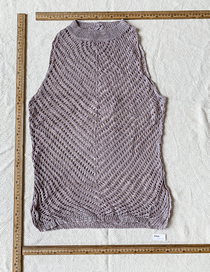 Fashion Purple Gray Knit Cutout Sleeveless Top