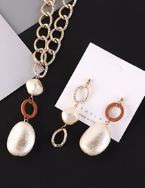 Fashion Coffee Pearl Resin Asymmetric Alloy Earring Necklace Set