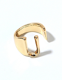 Fashion Kc Gold -u Alloy Letter Wide Edge Cutout Ring