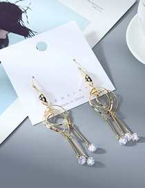 Fashion Golden Real Gold-plated Tassel Zircon Cutout Earrings