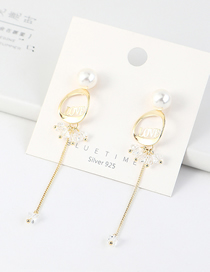 Fashion 14k Gold Tasseled Pearl Earrings With Genuine Gold Plated Letters