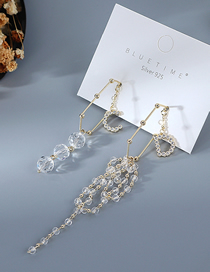 Fashion White Gold Plated Asymmetric Letters Crystal Glass Earrings