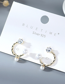 Fashion Golden Spiral C-shaped Earrings With Genuine Gold-plated Diamonds And Pearls