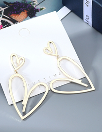 Fashion Golden Gold Plated Love Openwork Earrings