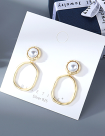 Fashion Golden Irregular Earrings With Hollow Pearls In Gold Plated