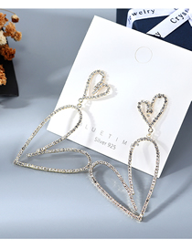 Fashion Golden Open Heart Earrings With Diamond Plated Love