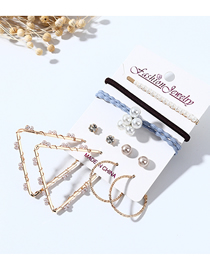 Fashion Color Mixing Triangle Pearl Winding Diamond Earrings Hairpin Hair Rope Set