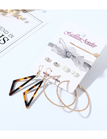 Fashion Color Mixing Bowknot Pearl Resin Crown Earrings Hairpin Hair Rope Set