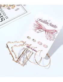 Fashion Color Mixing Bow Tie Pearl Rhinestone Earrings Hair Rope Set