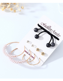 Fashion Color Mixing Pearl And Diamond Geometric Earrings Hair Rope Set