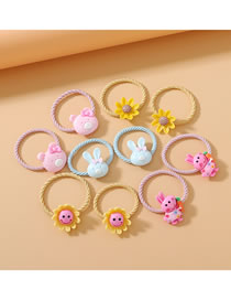 Fashion Color Mixing Resin Sunflower Bunny Hair Rope Set