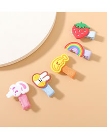 Fashion Color Mixing Strawberry Rainbow Fruit Hairpin Set