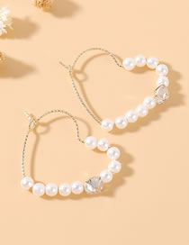 Fashion Small Version True Gold Plated Love Pearl Zircon Earrings