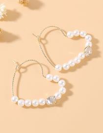 Fashion Large Version True Gold Plated Love Pearl Zircon Earrings