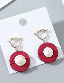 Fashion Red Wood Shell Earrings