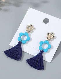 Fashion Blue+navy Frosted Fringe Earrings