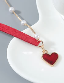 Fashion Red Pearl Love Necklace