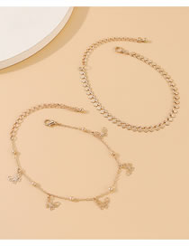 Fashion Golden Small Butterfly Double Anklet