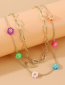 Fashion Color Small Flower Double Necklace