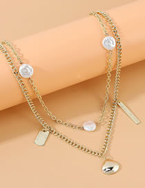 Fashion Golden Pearl Chain Pendant Double Necklace