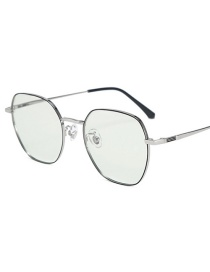 Fashion Black Silver Frame-after Changing Color Anti-radiation And Anti-blue Color Changing Glasses Frame Flat Mirror
