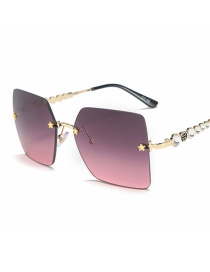 Fashion Gold Frame With Powder On Top Square Five-pointed Star-cut Diamond Temple Sunglasses