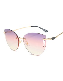 Fashion Gold Frame Purple Pink White Hollow Geometric Alloy Sunglasses