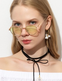 Fashion Gold Frame Gradient Green Oval Small Frame Alloy Sunglasses