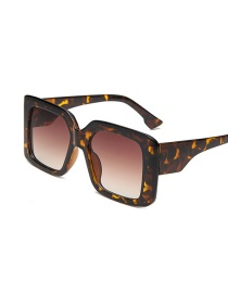 Fashion Leopard Print Large Square Gradient Resin Sunglasses