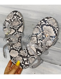Fashion Gray Serpentine Flat Sand Beach Slippers
