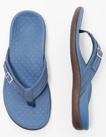 Fashion Navy Flat Sandals And Sandals