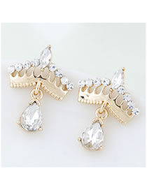 Fashion Golden Diamond Drop Diamond Earrings