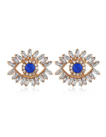 Fashion White Diamond Studded Eye Stud Earrings