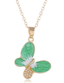 Fashion Green Contrast Color Hollow Oil Drop Butterfly Pearl Necklace