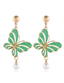 Fashion Green Contrast-cut Hollow Butterfly And Diamond Stud Earrings