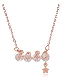 Fashion Rose Gold Copper Micro-set Zircon Digital Pentagram Necklace