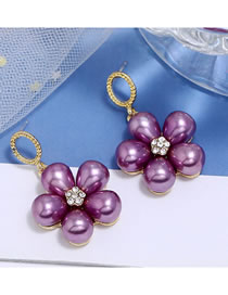 Fashion Purple Pearl Flower Diamond Stud Earrings