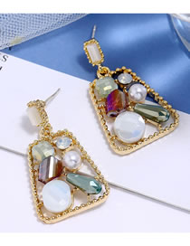 Fashion Color Mixing Crystal Geometric Trapezoidal Alloy Hollow Earrings
